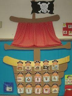 Mrs Jumps class: Pirates and Pete the Cat Pirate Preschool, Pirate Activities, Pirate Day, Pirate Theme, Pirate Decor, Pirate Crafts, Pirate Bulletin Boards, Pete The Cat, Decoration Creche