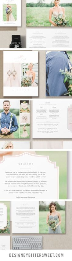"""Create a gorgeous wedding welcome guide for your photography studio!  Send clients your pricing and information about your photography business in the form of a beautiful magazine! With professionally written text along with customizable fonts & colors, you'll have a versatile package to deliver to your clients as a digital guide or as a beautifully printed 8.5""""x11"""" welcome packet.  Images by @sharonnicole"""