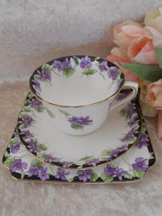 Violets - Teacup and Saucer on Square Dessert Plate