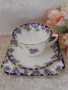 Violets - Teacup and Saucer on Square Dessert Plate