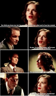 Agent Carter is fast becoming one of my favorite shows. This strong woman standing up for herself to men who underestimate her makes my day.