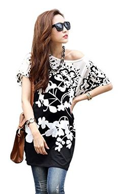 Women Loose Fit Batwing Sleeve Flower Print Long Blouse Top Yellow Small at  Amazon Women s Clothing store  Casual Tops ... c154558fd