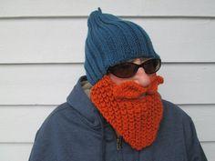 Long Bearded Hat Beard Hats Red Beard hat knitted by Ritaknitsall