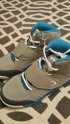 Shaq Athletic Shoes Elephant Grey Gray Teal Lace Velcro Mens Boys Sz 5 NEW! 2e5d5dbc3