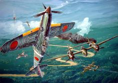 "Kawasaki Ki-61 Hien ""Tony"" of the 2nd/68th Sentai in combat with USAAF P-38 Lightnings"