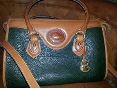 Dooney &Bourke all weather leather handbag satchel  green/tan Medium
