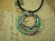 Recycled Soda Can Art Stacked Hoop Circle Necklace by jillmccp, $10.95