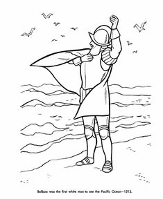 Balboa Discovery of Pacific Ocean Coloring Page