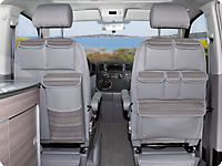 "UTILITIES für Fahrerhaussitze VW-T5 California Comfortline. Design: ""Kreta Warm Grey / Leder Classicgrey"""