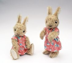 This listing is for ONE rabbit. Just one left!    This is a fully jointed mohair rabbit stuffed with excelsior (wood wool) and measures 10.5 tall. She