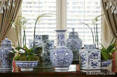 Tobi Fairley dining room tablescape in white and blue...