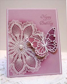love the butterfly and doily card SU