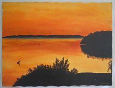 Vintage Orange Painting Florida Bay Sunset Plantation Key Lafavour Wading Birds  | eBay Art Paintings For Sale, Bird Paintings, Florida Bay, Orange Painting, Pet Cage, Bird Art, Worlds Largest, Folk Art, Birds