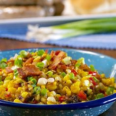 Fresh sweet corn off the cob. Sautéed with bacon, onion, red pepper. Flavored with maple syrup for sweetness.