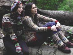 Hat, Mitten, Socks, Sweater and Cardigan. Fair isle knits in Rowan Tweed