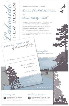 For rustic outdoor or elegant inland celebrations by the water, our lake scene wedding invitation is the perfect theme to highlight your gorgeous lake wedding.