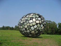 Accidentally Dropped Object Pedvale MUNAMUNA - Villa Jaanisoo, Estonia/Finland - televisions, tv sets, sculpture, art, egg, landscape, technology, communication,