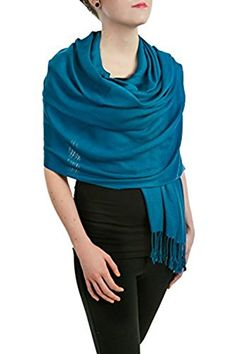 Opulent Luxury Scarf Shawl Wrap 100 Silk Soft Teal Blue 80 x 30 * Check out the image by visiting the link.