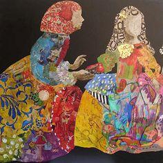 La Infanta y María Sarmiento - Carmen Casanova Art Pop, Collages, Sand Pictures, Museum Education, Famous Portraits, Collage Art Mixed Media, Middle School Art, Various Artists, Public Art