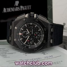 AUDEMARS PIGUET Royal Oak Offshore 44mm - Carbon REF: 26400AU.OO.A002CA.01 | Year Sep 2011 A combination of ultra-light carbon fibre and super tough ceramic really beef up the Royal Oak Offshore's sports credentials and make for a supremely comfortable watch to wear. The sapphire crystal case-back shows off the AP calibre 3126 automatic chronograph movement perfectly whilst ensuring water resistance to 100m.