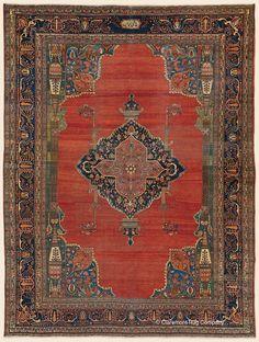 "FERAHAN SAROUK, 8' 9"" x 11' 8"" — 2nd Quarter, 19th Century, West Central Persian Antique Rug - Claremont Rug Company"
