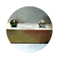 Round Print Marbles C from original painting 10x10 by vankale, $15.00