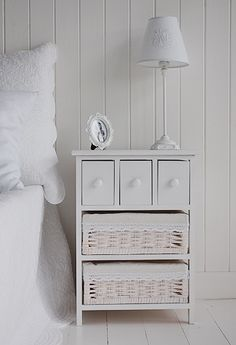 Hampton Bedside table with baskets and drawers