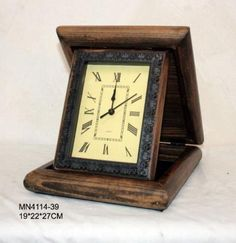 Antique Styled Rustic Wood Travelling Clock With Case - A Bygone Treasure