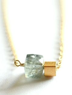 Moss aquamarine cube necklace. By Kahili Creations of Hawaii...