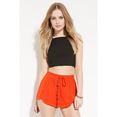 Forever21 Washed Drawstring Satin Shorts ($11) ❤ liked on Polyvore featuring shorts, coral, forever 21 overalls, draw string shorts, drawstring shorts, lightweight bib overalls and satin shorts