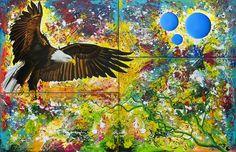"""Anita Ammerlaan, kunstenaar, biedt haar schilderij """"Eagle"""" te koop aan via KUNSTmarktplaats.nl. #kunst #eagle #schilderij"""