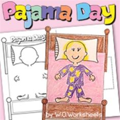 Pajama DayIncludesReminder - Parent handout (2 choices)Pajama Day CraftBedtime GraphSlippers Patterning cut and pasteWord SearchGreater or less than  Rhyming match and trace2 writing prompts Draw your favorite breakfastDraw and write your favorite bedtime storyCompare and contrastFun MazeWrite steps for bedtimeFun find and count pajama party pictureDoughnut color by color wordsPajama Day Bingo (color or black and white)You may also be interested in100th Day of SchoolCrazy Hair Day