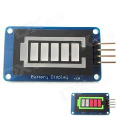 Battery Style Digital Tube LED Battery Level Display Module for Arduino / AVR / ARM / PIC - Blue. This is battery level display module based on battery style digital tube LED. The 5 - segment LED inside is red light and the frame is green light. There is a driver chip TM1651 onboard, so the control interface is simple, just two signal lines and VCC / GND. It can be used to display the battery power. Features: 1. The module and its libraries are compatible with Arduino UNO, Leonardo, DUE 2. 8…