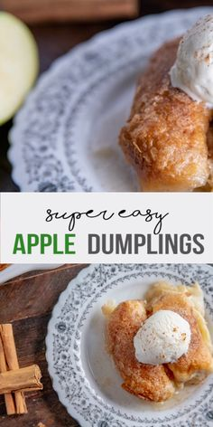Apple Dumplings - tart apples wrapped in a flaky biscuit, and smothered in a buttery vanilla sauce. Topped with crunchy cinnamon sugar, this is a super easy recipe that delivers on taste! Apple Desserts, Easy Desserts, Dessert Recipes, Cake Recipes, Green Apple Recipes, Best Apple Recipes, Lemon Recipes, Easy Apple Dumplings, Flaky Biscuits