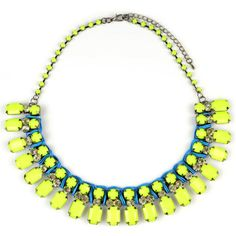 Emi Jewellery Neon Yellow Collar Necklace (140 VEF) ❤ liked on Polyvore featuring jewelry, necklaces, yellow, yellow necklace, clear necklace, braided necklace, clear chain necklace and adjustable chain necklace