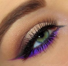 Neutral smokey eye makeup with bright purple #eye #eyes #makeup #eyeshadow #dramatic #smokey