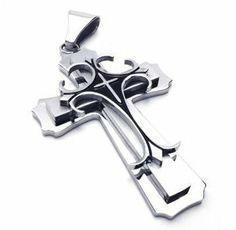 """22"""" KONOV Jewelry Classic Stainless Steel Cross Necklace Pendant - Black & Silver, 18"""",20"""",22"""",24"""" 26"""" OR 28"""" Chain - 22 inch KONOV Jewelry. $8.99. Chain Length: """"(0cm) Width: 3mm. Pendant Height: 2.32""""(5.9cm) Width: 1.46""""(3.7cm). Pendant arrives with one quality stainless steel chain.. Color: Black & Silver; Material: Stainless Steel"""