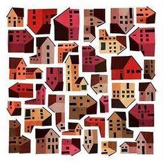"""Composición de diferentes estilos de casas, con variaciones en sus tamaños, colores y formas que se ha tomado en cuenta para representar la forma en que la cultura hace un """"todo"""" del """"pueblo"""" a pesar de sus diferencias."""