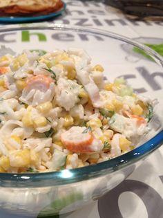 Valérie Cuisine: Salade de Riz au Surimi No Salt Recipes, Cooking Recipes, Healthy Recipes, Baked Crab Cakes, Food Obsession, Salad Recipes, Entrees, Healthy Eating, Favorite Recipes