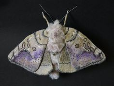 Fabric sculpture -Large basswood- leafroller moth textile art
