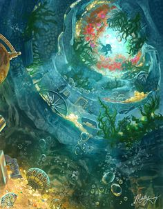 Mermaid Grotto by SeaOfFireflies on DeviantArt Wallpaper Iphone Disney, Cute Disney Wallpaper, Arte Disney, Disney Art, Fantasy World, Fantasy Art, Disney Background, Mermaid Background, Pinturas Disney