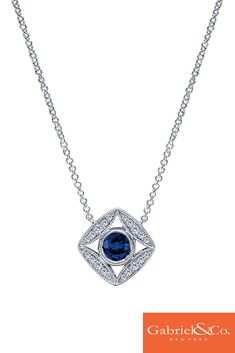 This stunning White Gold Diamond And Sapphire Necklace is the perfect piece for the winter! Put this lovely diamond and sapphire necklace on for your winter holiday events and parties. Find your local Gabriel retailer to find your favorite Gabriel Sapphire Pendant, Sapphire Necklace, Sapphire Earrings, Sapphire Gemstone, Blue Sapphire, Blue Necklace, Diamond Pendant, Necklace Set, Pretty Necklaces