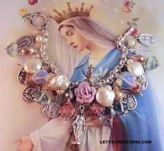 Catholic Virgin Mary OL Miraculous Medal, Saints Religious Charm Bracelet www.letyscreations.com #virginmary #jewelry #bracelet