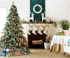 Icy blue and white make a perfect color scheme for a coastal Christmas!