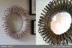 paper wreath idea --> West Elm ribbon mirror --> centerpieces?