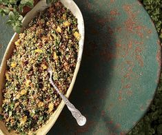 Bulgur Salad with Herbs, Apricots, and Pistachios - Recipe - FineCooking, Pistachio Recipes, Pistachios, Healthy Salads, How To Dry Basil, Herbs, Food, Salads, Pistachio, Essen