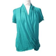 "Moth Anthropologie Sz M Green Linen Wrap Shirt EUC Moth Anthropologie Sz M Green Linen Wrap Shirt EUC, Length 28"" Bust 36-38 Anthropologie Tops Blouses"