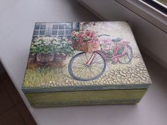 wooden box with decoupage-bike
