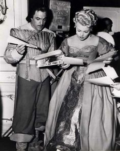 Gene Kelly and Lana Turner, behind the scenes of 'The Three Musketeers'. I'm a sucker for musketeer movies.