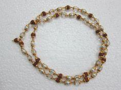 Amazon.com: Yoga Mala Rudraksha Crystal Pearl Combination Golden Cap Mala 54 Spiritual Jewelry: Mogul Interior: Jewelry